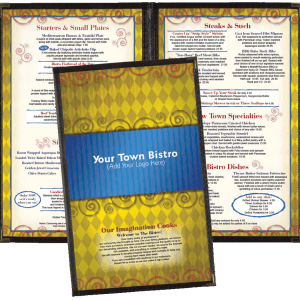 Sample of custom menu design with blue and gold