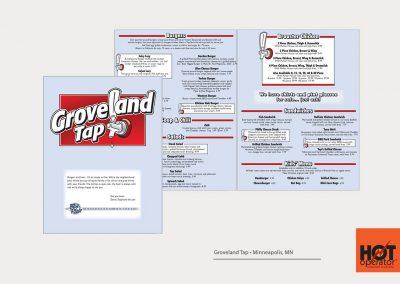 Groveland Tap Restaurant Menu Design