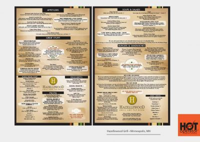 Hazelwood Restaurant Menu Design