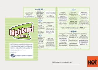 Highland Grill Restaurant Menu Design