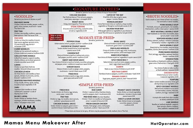 Mama Asian Menu Design