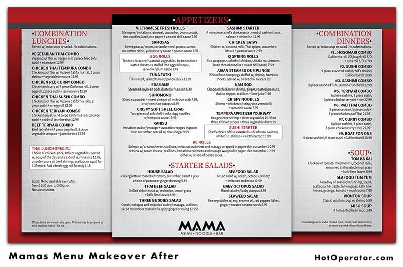 Mamas Asian Menu After